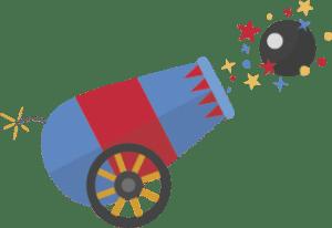 ilustración de cañón disparando